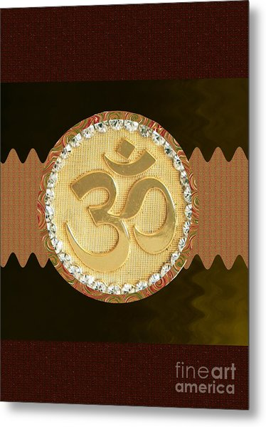 Om Mantra Ommantra Hinduism Symbol Sound Chant Religion Religious Genesis Temple Veda Gita Tantra Ya Metal Print