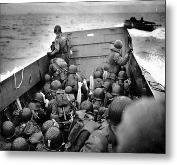 Omaha Beach Landing Craft Approaches Metal Print