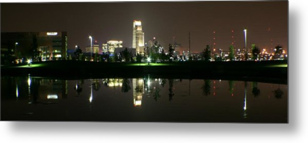 Omaha Skyline Reflection Metal Print