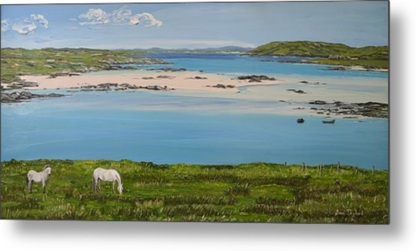 Omey Strand To Omey Island Cladaghduff Connemara Ireland Metal Print