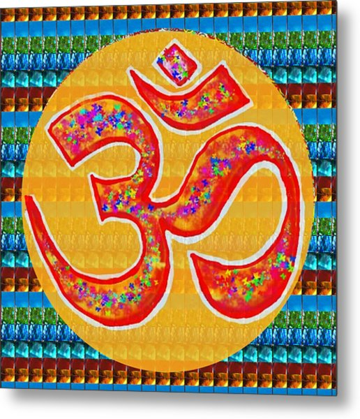 Ommantra Om Mantra Chant Yoga Meditation Spiritual Religion Sound  Navinjoshi  Rights Managed Images Metal Print