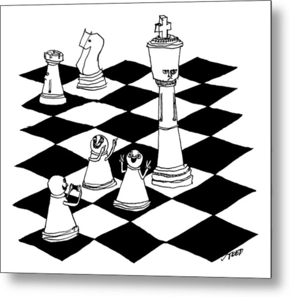 On A Chessboard Metal Print