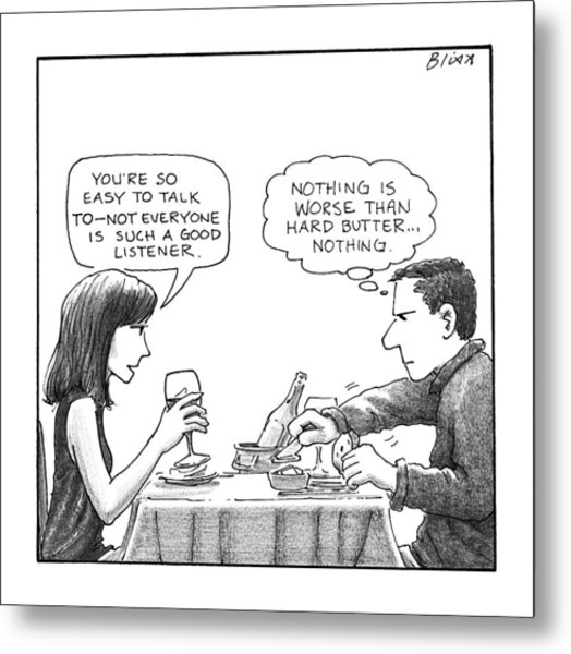 On A Date, A Woman Compliments The Man's Metal Print