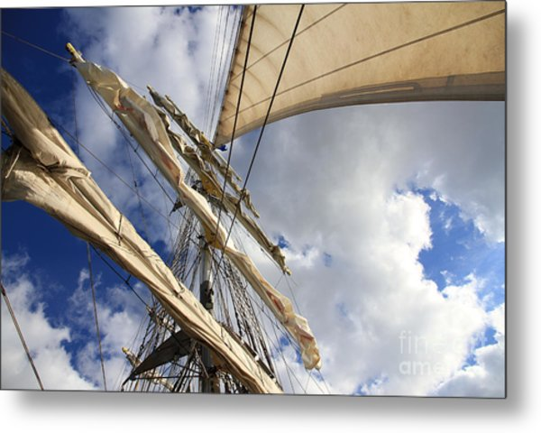 On A Sail Ship Metal Print