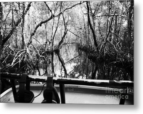 On Board An Airboat Ride Through A Mangrove Jungle In Everglades City Florida Everglades Metal Print by Joe Fox