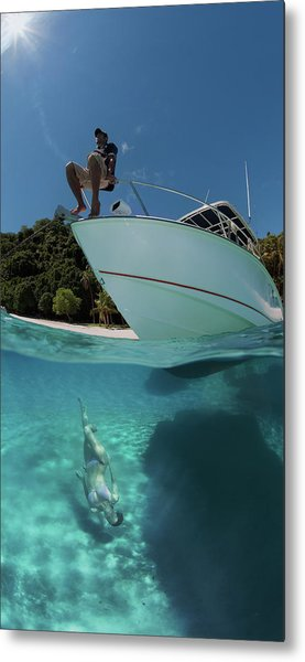 On The Boat And Under Metal Print