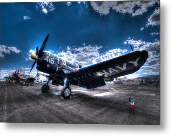 On The Flight Line.  F-4u Corsair At Reno Air Races Metal Print