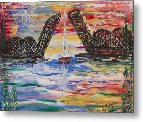 On The Hour. The Sailboat And The Steel Bridge Metal Print