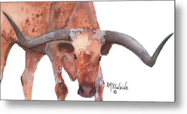 On The Level Texas Longhorn Watercolor Painting By Kmcelwaine Metal Print