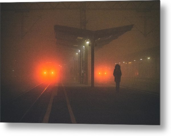 On The Platform Or At The Subway Station Metal Print by Matija Posavec