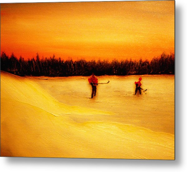 On The Pond With Dad Metal Print