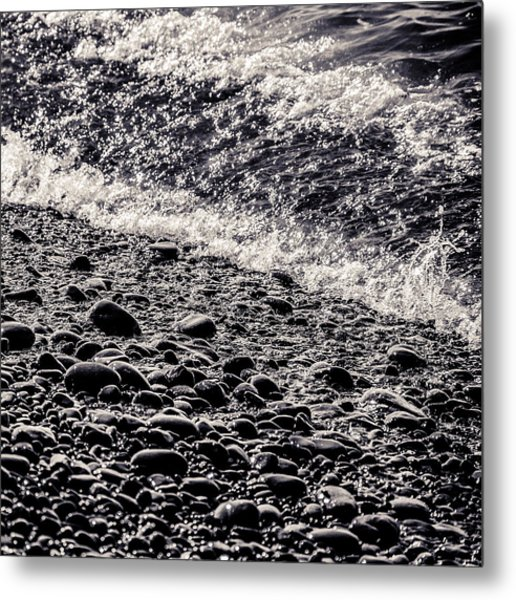 On The Rocks  French Beach Square Metal Print