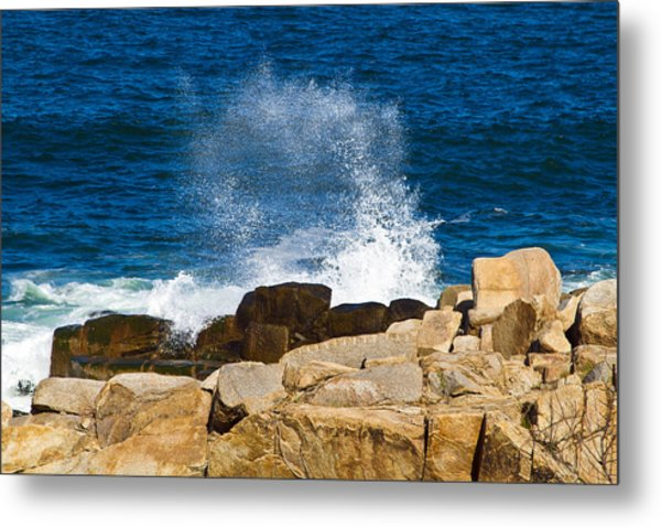On The Rocks With A Splash Metal Print