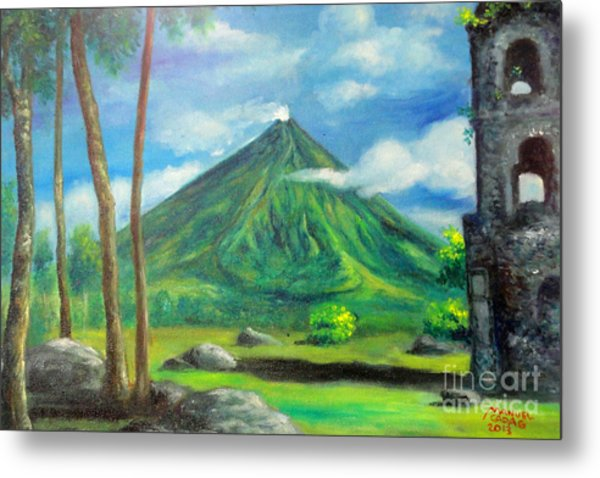 On The Spot Painting Of Mayon In Cagsawa Metal Print by Manuel Cadag