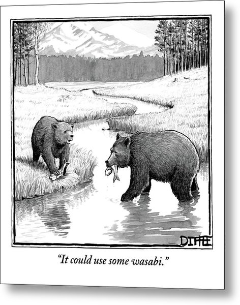 One Bear Speaks To Another As They Catch Fish Metal Print
