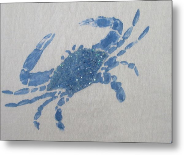 One Blue Crab On Sand Metal Print