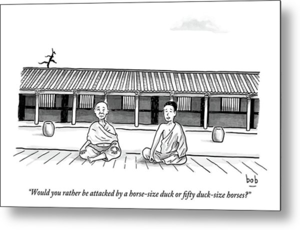 One Buddhist Monk Asks Another While Meditating Metal Print