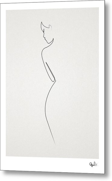 One Line Nude Metal Print