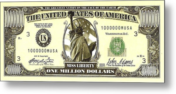 One Million Dollar Bill Metal Print