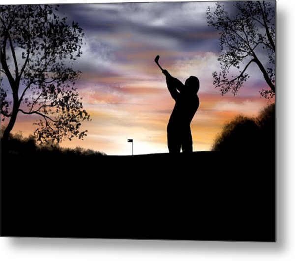 One More Hole - A Late Round Of Golf Metal Print