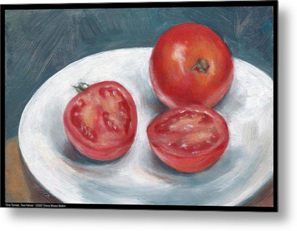 One Tomato Two Halves Metal Print