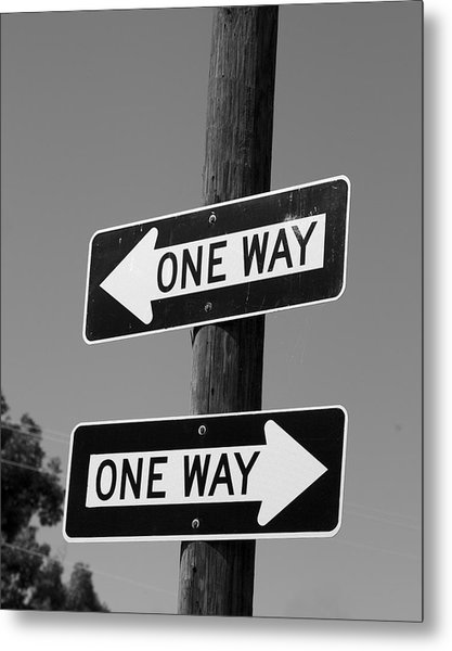 One Way Or Another - Confusing Road Signs Metal Print