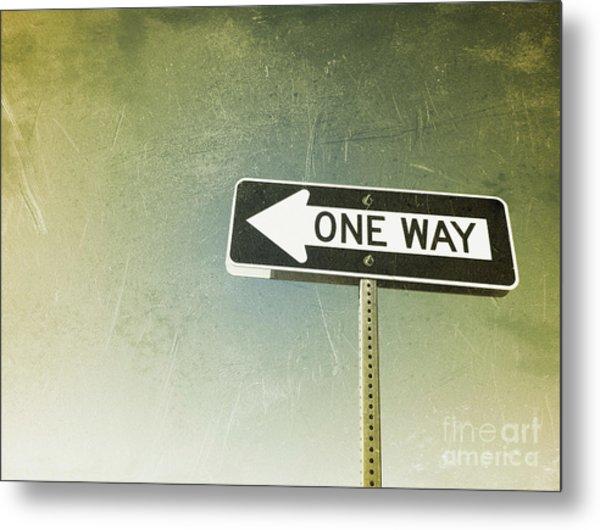 One Way Road Sign Metal Print
