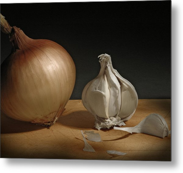 Onion And Garlic Metal Print