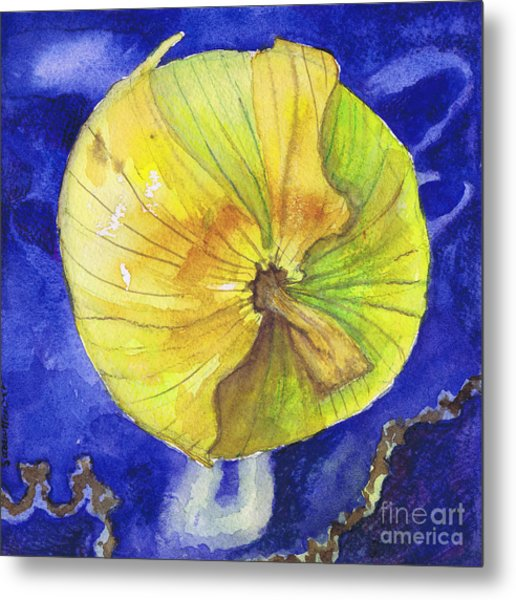 Onion On Blue Tile Metal Print by Susan Herbst