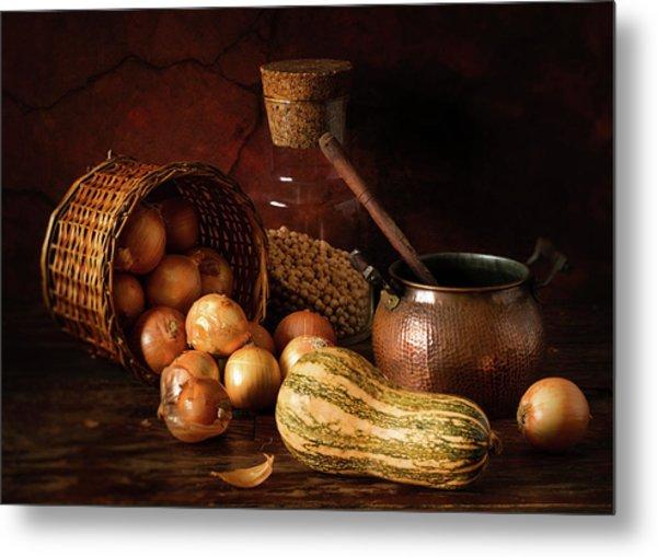 Onions And Pumpkin Metal Print