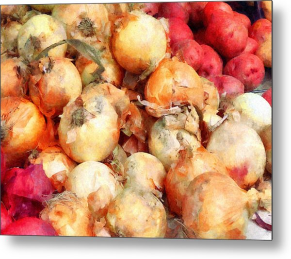 Onions Closeup Metal Print by Susan Savad