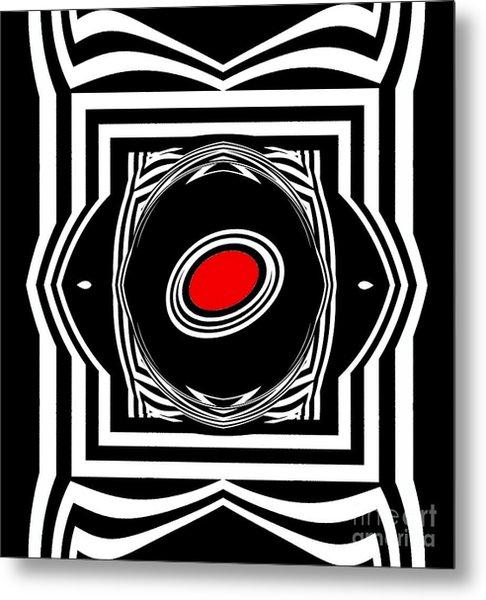 Op Art Geometric Black White Red Abstract Print No.33. Metal Print by Drinka Mercep