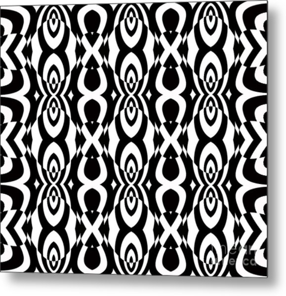 Op Art Pattern Geometric Black White Art No.338. Metal Print by Drinka Mercep