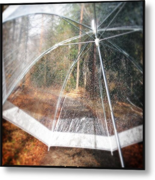 Open Umbrella With Water Drops In The Forest Metal Print