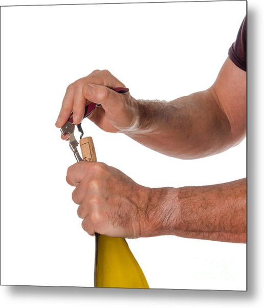 Opening A Bottle Of Wine Metal Print