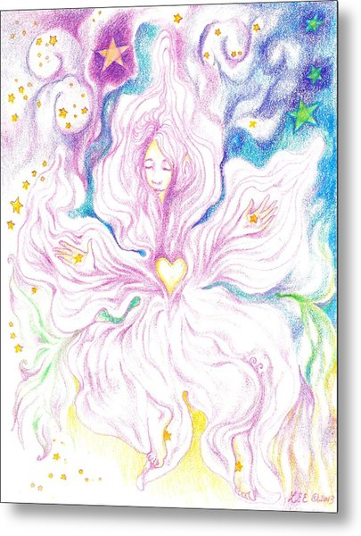 Opening And Blossoming   Dreaming The World Into Being   As She Dances In The Stars Metal Print by Lydia Erickson