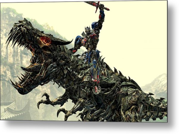 Optimus Prime Riding Grimlock Metal Print