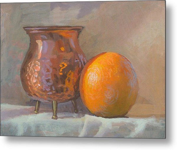 Orange And Copper Metal Print by Peter Orrock