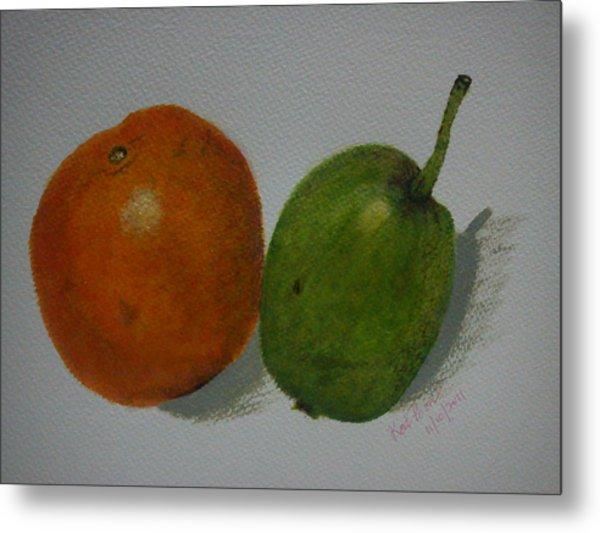 Orange And Pear Metal Print by Kat Poon