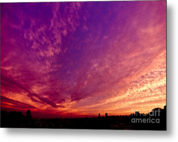 Orange And Purple Clouds Sunset View From The Balcony Metal Print