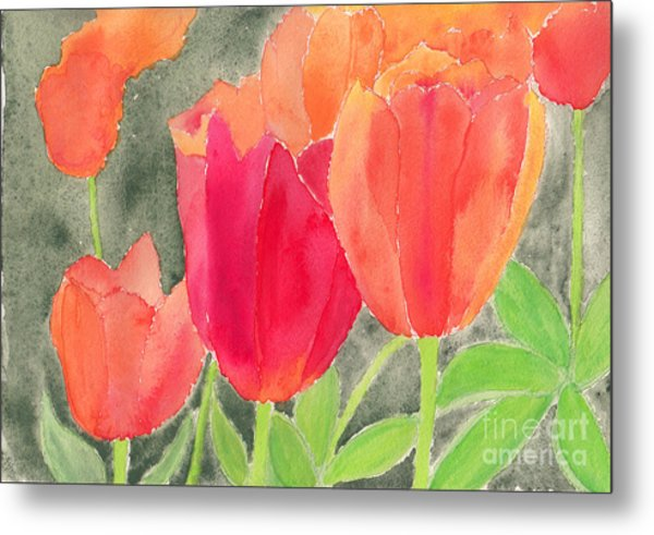 Orange And Red Tulips Metal Print