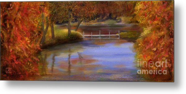 Orange Autumn Colors Reflected In Water  Metal Print by Judy Filarecki