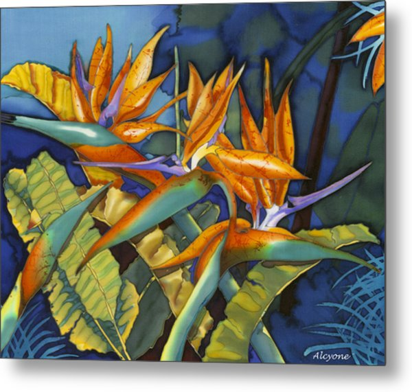 Orange Birds Metal Print