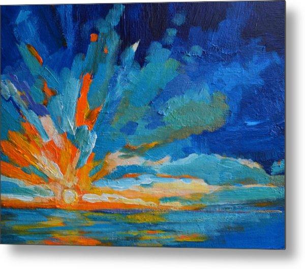 Orange Blue Sunset Landscape Metal Print
