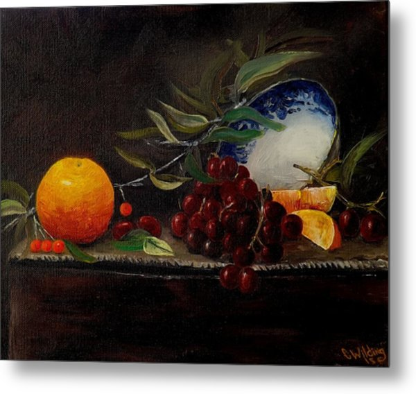 Orange Bowl Grapes Branch Metal Print