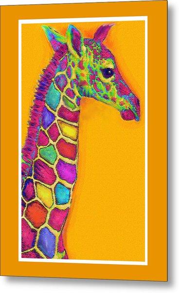 Orange Carosel Giraffe Metal Print