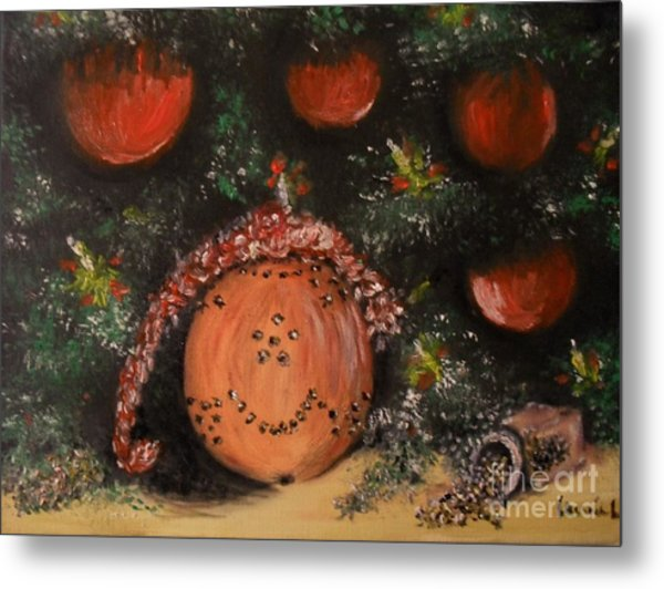 Metal Print featuring the painting Orange Clover Christmas by Laurie Lundquist