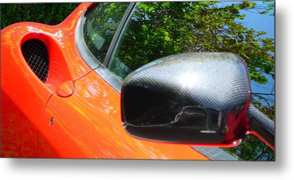 Metal Print featuring the photograph Orange Ferrari  by Jeff Lowe