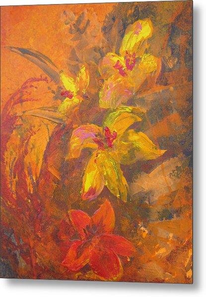 Orange Floral  Metal Print