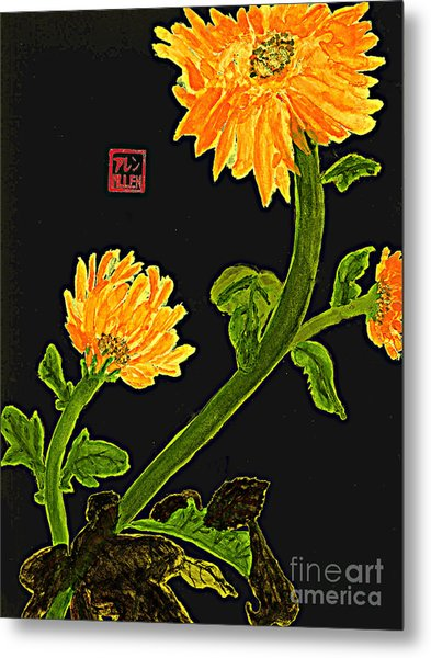 Orange Flowers  Chinese Watercolor Art Metal Print